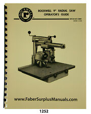 Rockwell 9 Radial Arm Saw Operator Amp Parts List Manual 1252