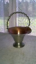 "Vintage Tinn Pewter Basket Enamel Interior Small 6 1/2"" Tall Collectible Norway"