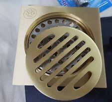 Gold Polish Brass Floor Grate Drain Square Bathroom Shower Wastes Water Strainer