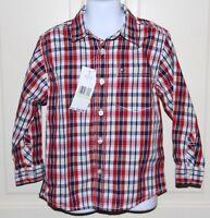 NWT Boys Tommy Hilfiger Blue/White/Red Plaid Button Down Shirt Sz 4T