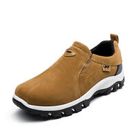 Mens Suede Slip On Sports Outdoor Sneakers Running Easeful Hiking Shoes Trainers