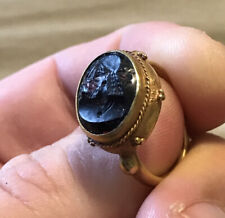 SCARCE 20KT Solid Gold Roman Ring With AMETHYST Intaglio of Ruler VERY RARE
