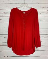 Lucky Brand Women's S Small Red Button Long Sleeve Cute Summer Top Blouse Shirt