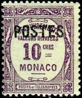 """MONACO STAMP TIMBRE YVERT N° 141 """" TIMBRES-TAXE SURCHARGE 10c """"  NEUF x TB"""