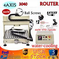 USB 4Axis 3040 CNC Router Engraver Milling Machine Ballscrews 3D 800W VFD NEW US