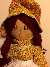 """Vintage Antique PIONEER WOMAN Prairie Girl Doll Raggedy Ann Pinafore 21"""" Tall"""