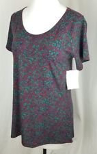 Women's LULAROE Classic Long Shirt Multicolor Burgundy Size XS