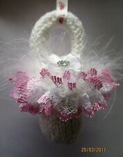 Hand made knitted Pram Charms - Baby Dummy with lace for Boy or Girl