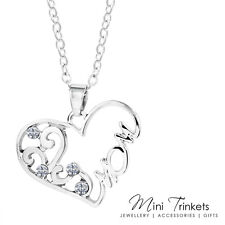 Silver Plate Mom Mum Necklace Cubic Zirconia Crystal Gift Present Mother's Day
