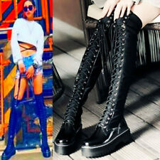 Women Lace Up Over The Knee Boots Thigh High Platform Punk Creepers Oxfords Goth