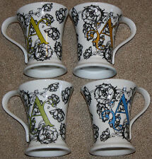 """COFFEE CUP MUG SET 4 PERSONALIZED INITIAL """"A"""" BLACK WHITE FLORAL COLORFUL MUGS"""