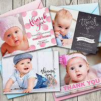 Personalised Birth Announcement New Baby Photo Thank You Cards - Girl or Boy
