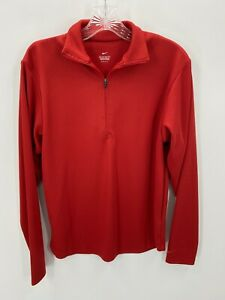 Nike Dri-Fit Mens Red 1/4 Zip Pullover Activewear Jacket  Stretch Small