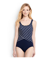 1e529fa952 Lands End Women s Long Tugless One Piece Swimsuit Soft Cup Deep Sea 14   477664