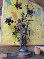 Monumental Muse Des Bois Figural Newel Post Lamp Mica Sockets Acorns W Lering