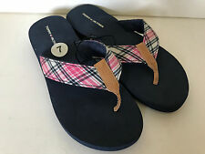 NEW TOMMY HILIFIGER JENNY SIGNATURE LOGO BLUE PINK PLAID SLIPPERS SANDALS 7 SALE