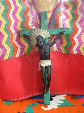 Rare vintage Black wooden Christ figure, Central American wood/metal
