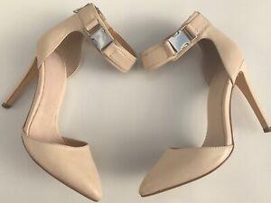asos Uk6 Womens Cream Court Shoes High Heels Leather Zips Clasp Fasten Summer
