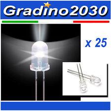 25PZ - Diodo Led 5mm Bianco ad alta luminosità / tensione 3.0 - 3.4v