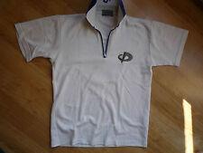 Men's white Polo-shirt, with zipper, Phiten Raku Titan, size XS, back has '4'