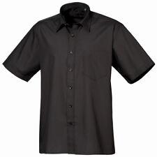 Premier New Mens Short Sleeve Poplin Shirt Stylish Work Office Formal Cut Collar