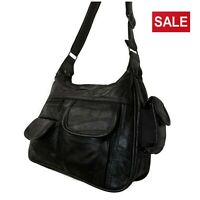 Ladies Black Leather Soft Handbag Lightweight Bag Classic Satchel Multi Pockets