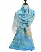 Ladies Large Scarf Flower Print Pattern Sheer Lightweight Wrap Shawl Blue Green