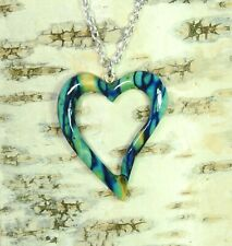 Heather Heart Pendant Unique from Handmade & Silver Plated Necklace  HG-5C