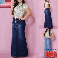 Womens High Waist Button Denim Jeans Skirt Ladies Bodycon Pencil Long Maxi Dress
