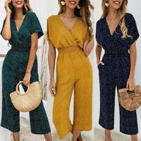 Women Ladies V Neck Short Sleeve Jumpsuit Casual Boho Wide Leg Pants Playsuits