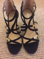 Ladies Jenny Fairy shoes size 6 39 black&gold heels party wedding Suede
