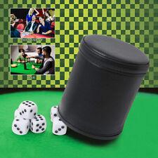RETRO DICE GAME SET FELT LINED PU LEATHER SHAKER CUP + 5 DOT DICE