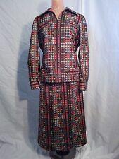 Brown Orange Print 2 Piece Dress Suit w/ Blazer and Skirt - 1970s - Emo Mod