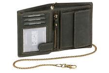 Biker Geldbörse Portmonee Portemonnaie mit Kette LEAS MCL Vintage Leder, schwarz