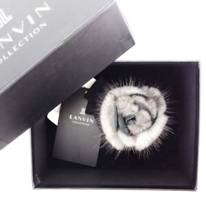 Lanvin brooch corsage Grey Black Woman Authentic Used T3350