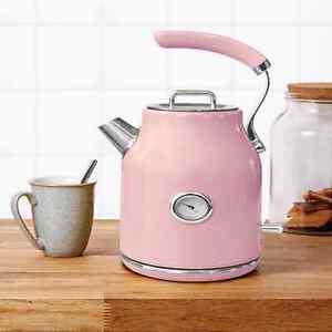 Vintage Pink Retro Electric Kettle Jug 1.7L 3Kw Teapot With Temp Level Gauge