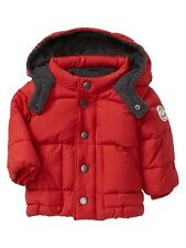 GAP Baby Boys Size 6-12 Months NWT Red Warmest Puffer Quilted Jacket Coat w/Hood