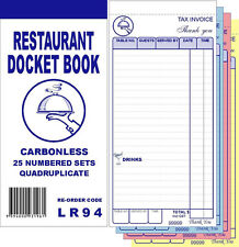 100 Quality Restaurant Docket Books - Quadruplicate Carbonless