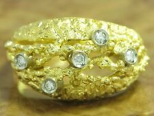 18kt 750 Yellow Gold Ring with 0,10ct Diamond Decorations/6,4g/ Rg 55