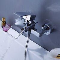 Wall Mounted Waterfall Bathroom Bath Tub Shower Tap Mixer Faucet W/Hand Shower