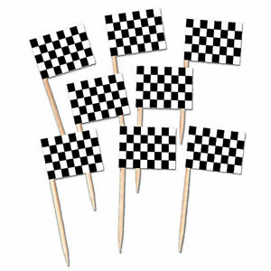 Black & White Check Flag Party Picks 6cm Pack of 50 -Grand Prix Car Racing Party