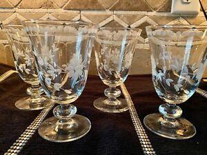 SET OF 4 WILLIAMS-SONOMA Vintage Etched Design Water Goblets Gorgeous