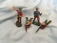 Lot of 4 Elastolin Figs 3  Cowboys, 1 Native American