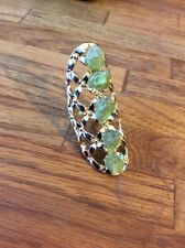 Fashion Jewelry Gold Filled Size 10 Ring Raw Peridot 2.5In Long Unique OOAK Gift