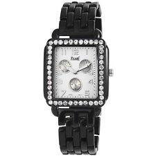 Edle Damenuhr Fame Stahl Schwarz Weiss Strass Armbanduhr Uhr 421234501892
