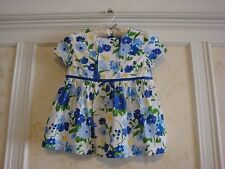NWT JANIE AND JACK GIRLS PINTUCKED FLORAL TOP SHIRT 8 BRIGHT BLUE
