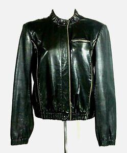 Womans J Crew Black w/Tan Trim Leather Bombers Jacket Button Front Sz S