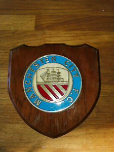 Vintage Manchester City F.C. Club Badge on Solid Wooden Shield