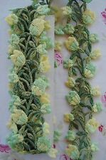 VTG SCHIFFLI VENISE GREEN YELLW FLOWER APPLIQUE LACE RIBBON TRIM FRENCH DOLL HAT