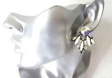 Beautiful 4cm long white bead & AB diamante - crystal cluster stud earrings  #60